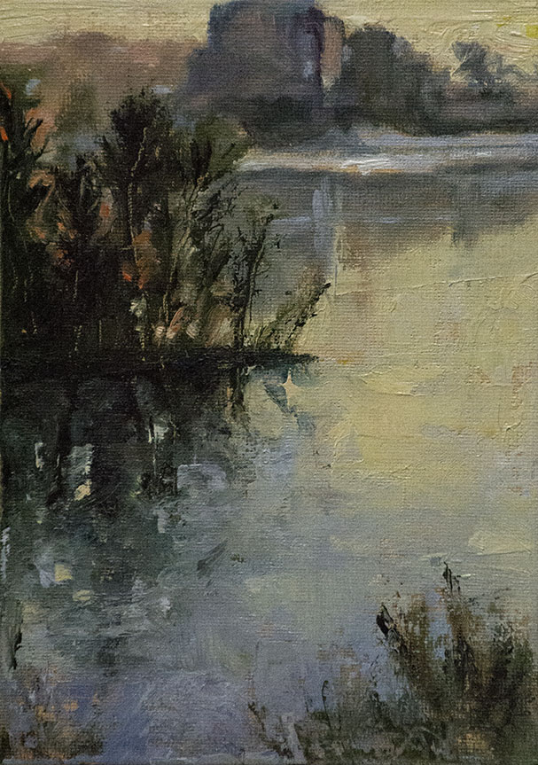 Painting of National Harbor with Trees reflected in the Potomac river